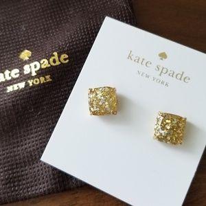 Kate Spade Mini Small Square Stud Earrings Gold